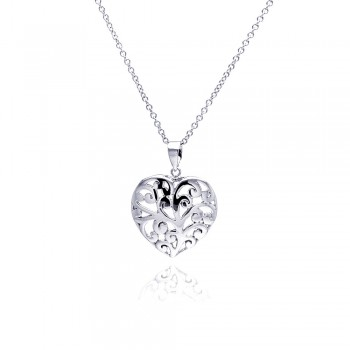 Sterling Silver Clear CZ Rhodium Plated Filigree Heart Pendant Necklace bgp00105