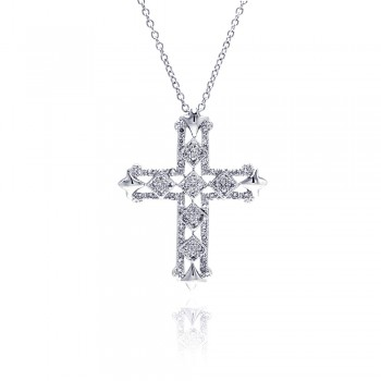 Sterling Silver Clear CZ Rhodium Plated cross Pendant Necklace bgp00106