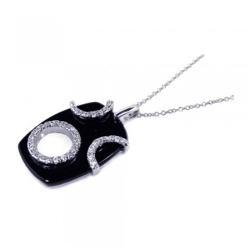 Sterling Silver Clear CZ Rhodium Plated Black Onyx octagon Pendant Necklace bgp00107