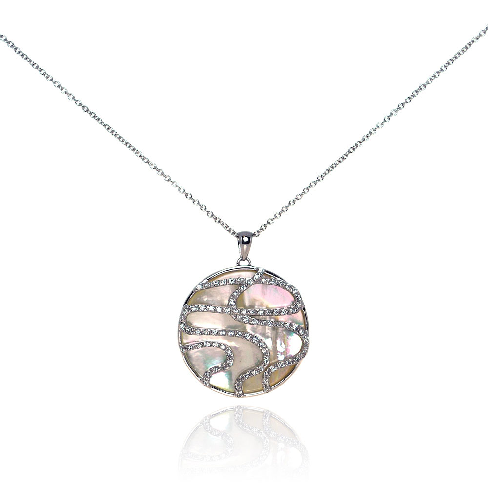Sterling Silver Clear CZ Mother Pearl Rhodium Plated Round Pendant Necklace bgp00115