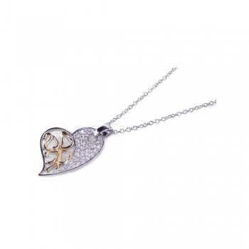 Sterling Silver Clear CZ Gold Rhodium Plated Heart Pendant Necklace bgp00116