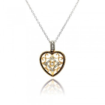 Sterling Silver Clear CZ Gold Plated Heart Pendant Necklace bgp00117