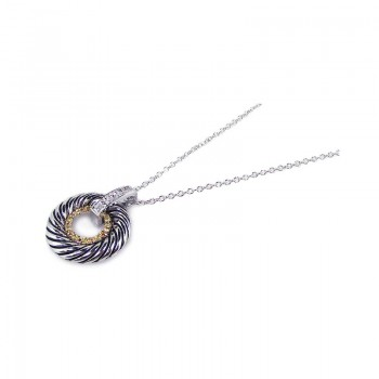 Sterling Silver Clear CZ Gold and Rhodium Plated Twisted Circle Pendant Necklace bgp00118