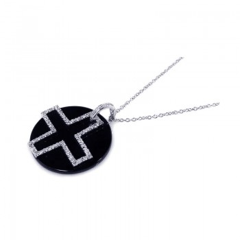 Sterling Silver Clear CZ and Onyx Rhodium Plated Cross Pendant Necklace bgp00124