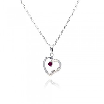 Sterling Silver Red CZ Rhodium Plated Heart Pendant Necklace bgp00134